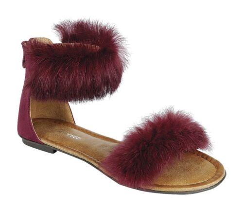Women Latest Fashion Flat Adjustable Strap Buckle Faux Fur Sandals Shoes Sz 6-10