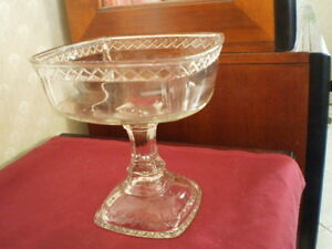Square Crystal Compote Bowl with Foot