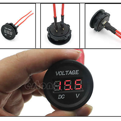 Car Motorcycle Perfect 12V-24V LED DC Digital Display Voltmeter Waterproof Meter
