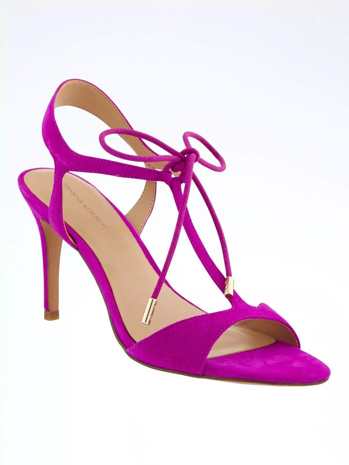 Banana Republic T-Strap High Heel Sandale,Neon Fuschia Suede SIZE 8 M  #683617 v5