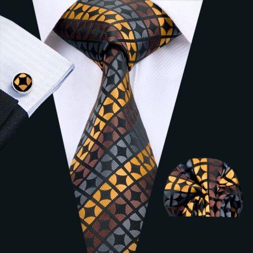 Classic Mens Tie Yellow Novelty Jacquard Woven Silk Hanky Cufflinks Sets SN-146
