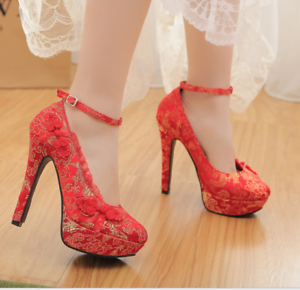 Women-039-s-Wedding-Red-Embroidered-Pumps-Platform-Floral-Buckle-Party-High-Heels