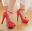 Women-039-s-Wedding-Red-Embroidered-Pumps-Platform-Floral-Buckle-Party-High-Heels thumbnail 1