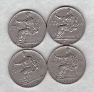 ITALY-1922-1923-1924-amp-1928-ONE-LIRE-COINS-IN-VERY-FINE-CONDITION