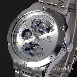 New-Silver-Skeleton-Analog-Mens-Mechanical-Automatic-Wrist-Steel-Band-Watch-W071