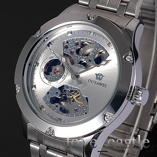 New Silver Skeleton Analog Mens Mechanical Automatic Wrist Steel Band Watch W071
