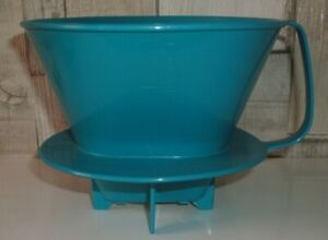 Coffee Maker 1 x 4 Large Pour Over Pot Plastic Dripper Blue 400ml Filter