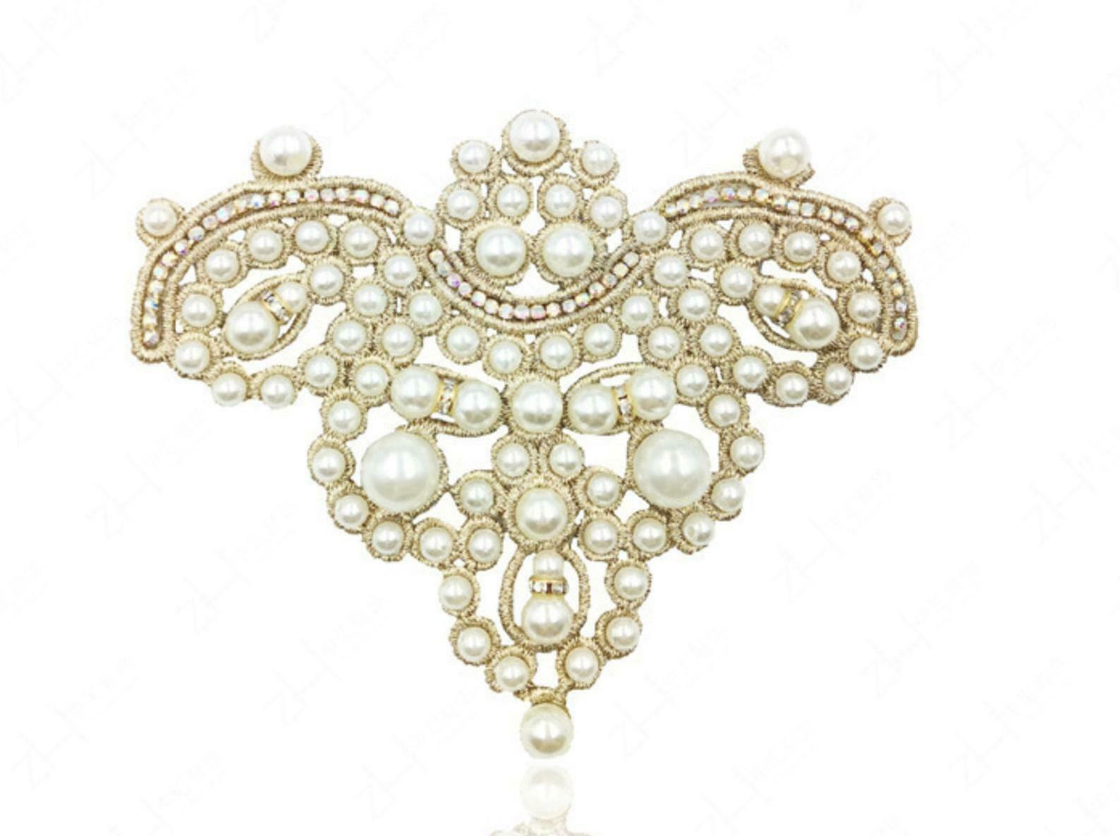 2 Pieces Ivory Pearl Beaded Faux Pearl Stone Shoes Applique Glue On Patch