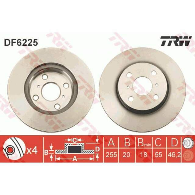 2 x 1 Disco de Freno TRW (DF6225)