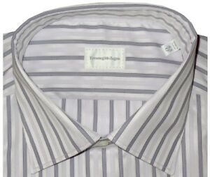 425-NWT-ERMENEGILDO-ZEGNA-WHITE-amp-LAVENDER-SUPERFINE-COTTON-DRESS-SHIRT-43-17