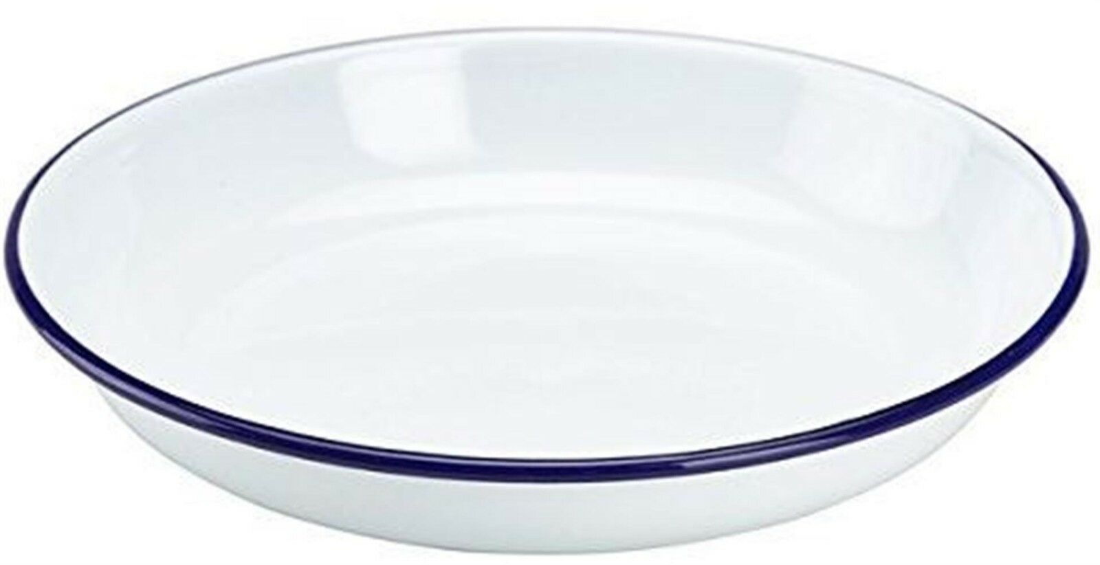 12x 12x 12x 24cm Enamel Rice Plate Pasta Weiß Blau Rim Camping 4WD Home Caravan Kitchen ce1b8b