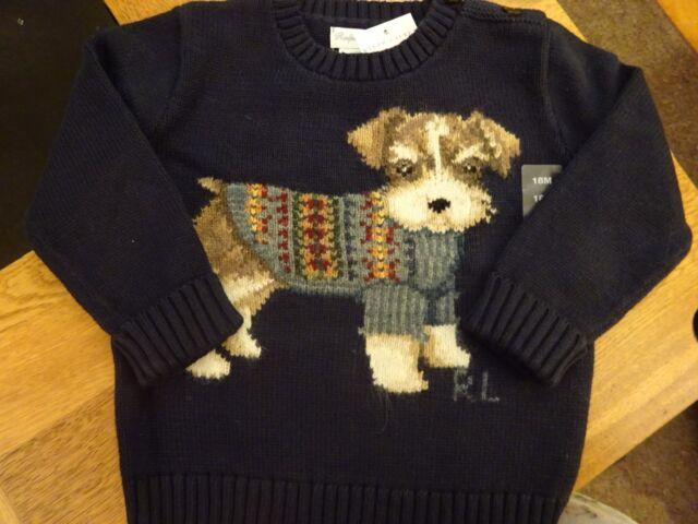 Baby Boys Polo Ralph Lauren Intarsia Knit Dog Sweater Jumper 9