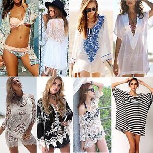 New-Women-Beach-Dress-Lace-Chiffon-Floral-Bikini-Cover-Up-Swimwear-Bathing-Suit