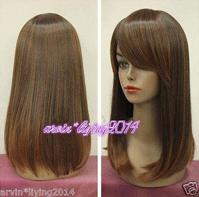 NEW!!Ladies Bob Medium Long brown mixed Natural Hair full wigs/Wig Cap