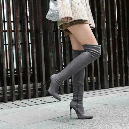 Femme a la Cuisse Bottes Cuissardes bout pointu et talon haut Bottes Chaussures SZ 35-48