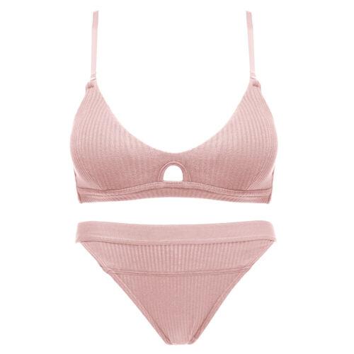 Ladies Bra Solid Cotton Wireless Thin Padded Brassiere Underwear Set and Briefs