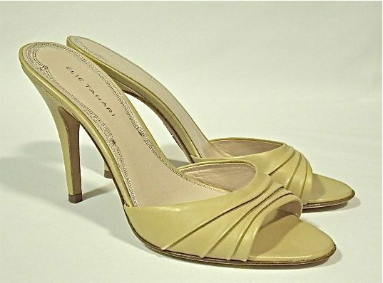 Eli Tahari ( 225.) 'NEW' Slide Mules 3.5  All HEELS All  Leather. 8-1 2M, NWB. 642ae1