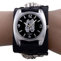 Black Gothic Skull Band Quartz Wrist Mens Watch Bracelet Punk Rock Retro Luxury