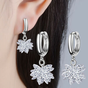 Women-039-s-925-Sterling-Silver-Zircon-Ice-Flower-Ear-Hoop-Earrings-Christmas-Gift