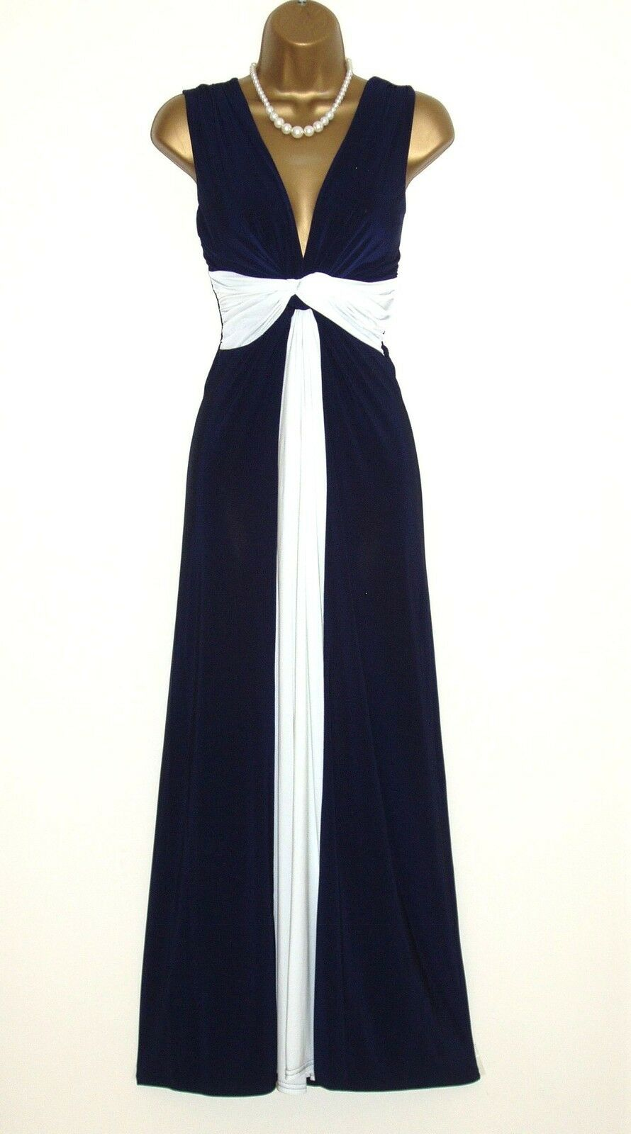 Long Navy Cream Grecian Knot Panel Maxi Evening Party Dress Prom-Ball-Cruise