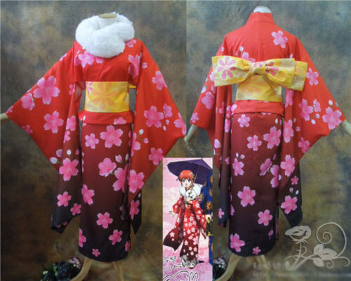 Silver Soul Gintama Kagura Cosplay Costume Sakura Festival Red Fur Collar Kimono