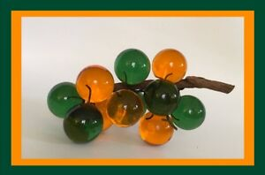 Vintage-Lucite-Acrylic-Resin-Grapes-On-Wood-Orange-amp-Green-8-5