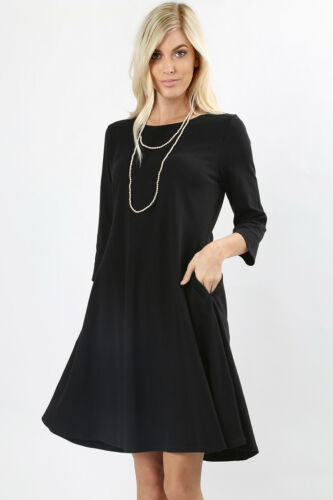 WOMENS CLASSIC COTTON A-LINE CASUAL DRESS 3//4 SLEEVE WORK DRESS FLARED