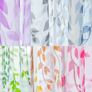 Willow-Leaves-Print-Sheer-Curtain-Tulle-Window-Treatment-Voile-Drape-Home-Decor