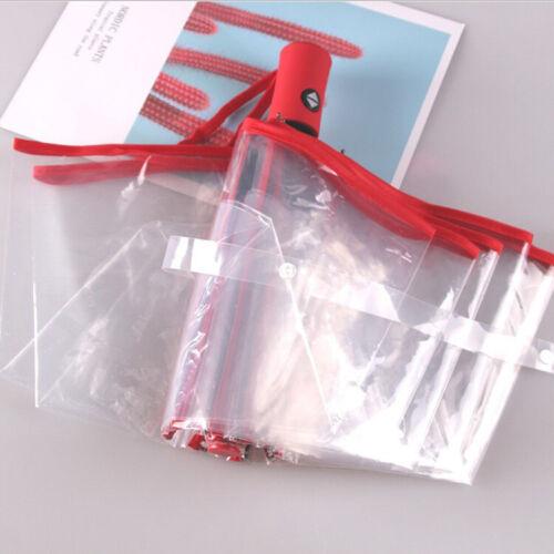 Transparent Automatic Open Close Folding Windproof Umbrella Compact Fashion Girl