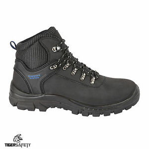 18a3af7b7e2 Details about Himalayan 2601 S1P SRC Black Leather Steel Toe Cap Hiker  Style Safety Boots PPE