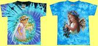 T-Shirt Blumen Elfe Engel, Gr. 86*92 blau Batik, Fantasy Märchen Prinzessin Fee
