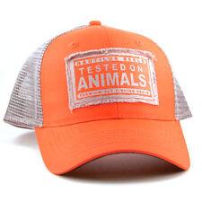 Nautilus Tested On Animals Trucker Hat Blaze Orange/Grey NEW FREE SHIPPING
