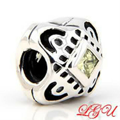 AUTHENTIC CHAMI CELTIC KNOT DESIGN WITH LIGHT GREEN CUBIC ZIRCONIA EUROPEAN BEAD
