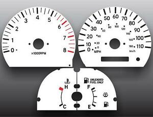 1999 2000 Toyota Tacoma Dash Instrument Cluster White Face Gauges Ebay