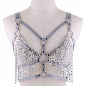 16 Colors Ladies Tassel Punk Metal Chain Faux Leather Vest Nightclub Body Chain
