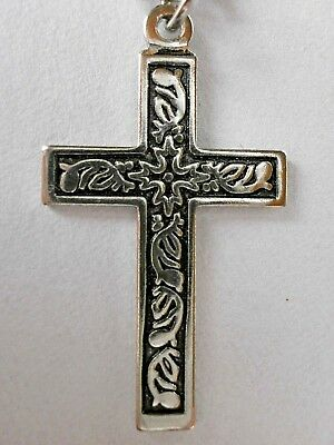 Kreuz Mit Schwarz-silberfarbenen Gravuren Kreuzkette Kettenlänge Ca.52cm,neu!!