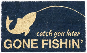 "DOOR MATS - GONE FISHING DOORMAT - 17"" X 28"" - DOOR MAT - LAKE HOUSE DECOR"