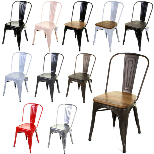 Admirable Set Of 4 Tolix Style Metal Bistro Chairs Cafe Kitchen Dining Rustic Vintage Pdpeps Interior Chair Design Pdpepsorg