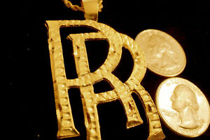 Bling gold plated big rr rolls royce intial pendant charm chain hip image is loading bling gold plated big rr rolls royce intial aloadofball Choice Image