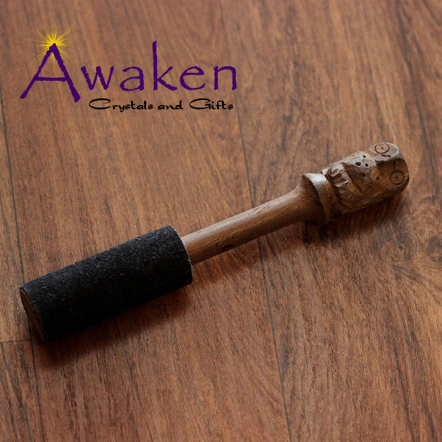 Timber and Suede Stick for Tibetan Singing Bowl 19 x 3cm Carved Owl Design