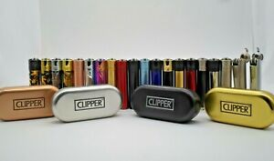 Clipper-Metal-Lighters-With-Metal-Gift-Tin-Case-Refillable-Multi-Colors-Free-Tin