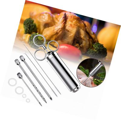 Suprcrne BBQ Bratenspritze, Professionelles Fleischinjektor-Lebensmittelspritzen-Kit mit 3 Nadeln, 2 Bürsten und 4 Ersatz-O-Ringen