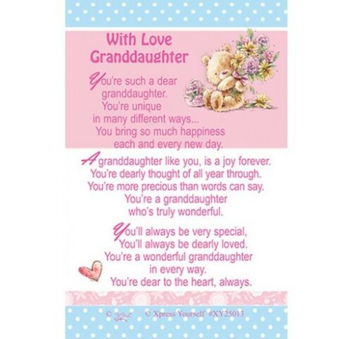 WITH LOVE GRANDDAUGHTER PURSE WALLET KEEPSAKE VERSE PRAYER CARD OTHERS LISTED