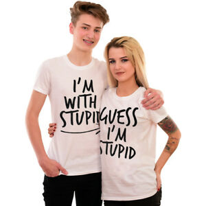 9c1c6ed9 I'm With Stupid Matching Funny T-Shirt Couples Slogan Tee Rude Joke ...