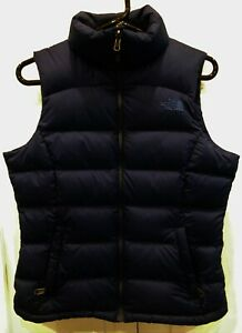 The North Face Goose Down Puffer Vest Navy Blue Zip Close Womens Size S
