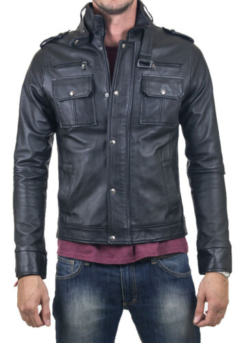 ★Giacca Giubbotto Uomo in di PELLE 100/% Men Leather Jacket Veste Homme Cuir Q38a