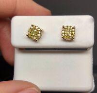 Designer Canary Diamonds 0.35 Ct,10 K Yellow Gold Screw Backs For Men's/women's