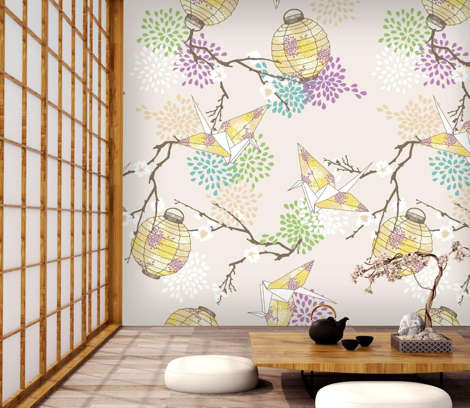 3D Paper Crane And Lantern 4 Wall Paper Wall Print Decal Wall Deco Indoor Murals