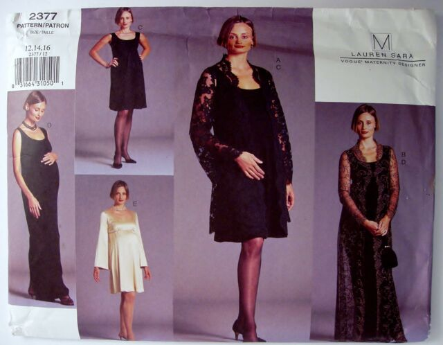 Sewing Pattern Dress Coat Maternity Size 12 14 16 Vogue Designer