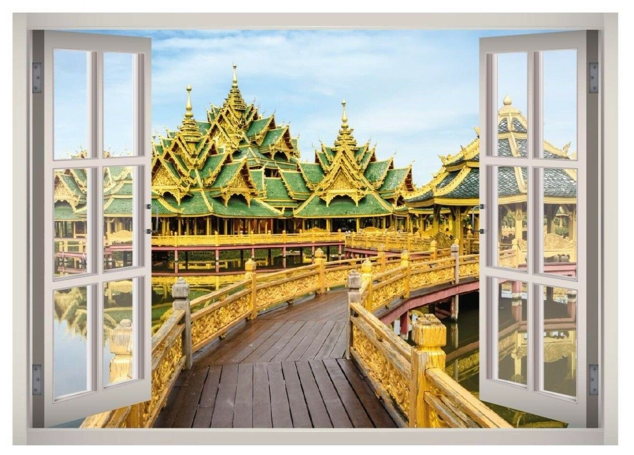 Ancient Siam View Window 3D Wand Decal Kunst Mural Home Decor Canvas Vinyl W53